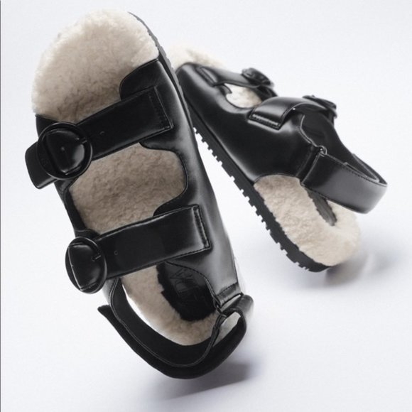 NEW! Zara Faux Leather Sandals Black Cream - 10 US